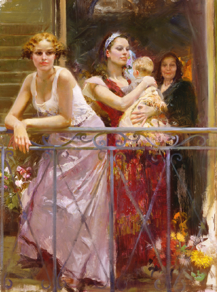 Pino daeni Waiting at The Balcony reproductions on canvas