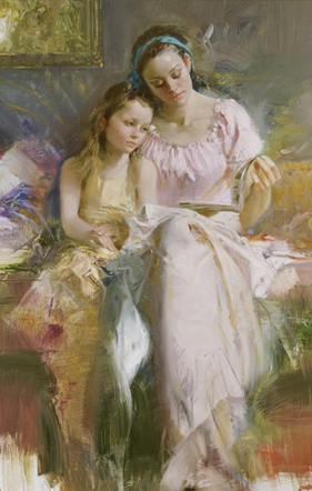 Pino Daeni's oil painting on canvas art Bedtime Stories