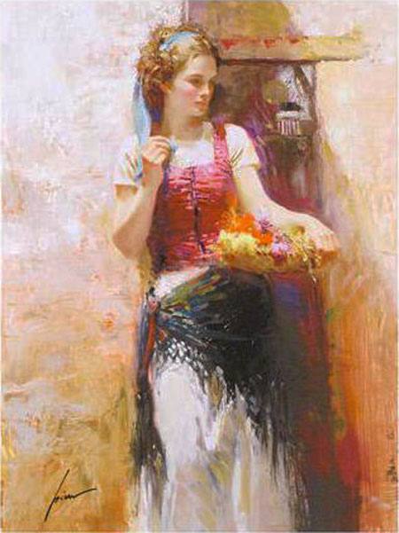 Pino Daeni paintings Flower Basket Reproductions on canvas