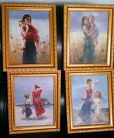 "4 pcs 6""x 8"" Framed oil painting reproductions Pino Daeni's art"