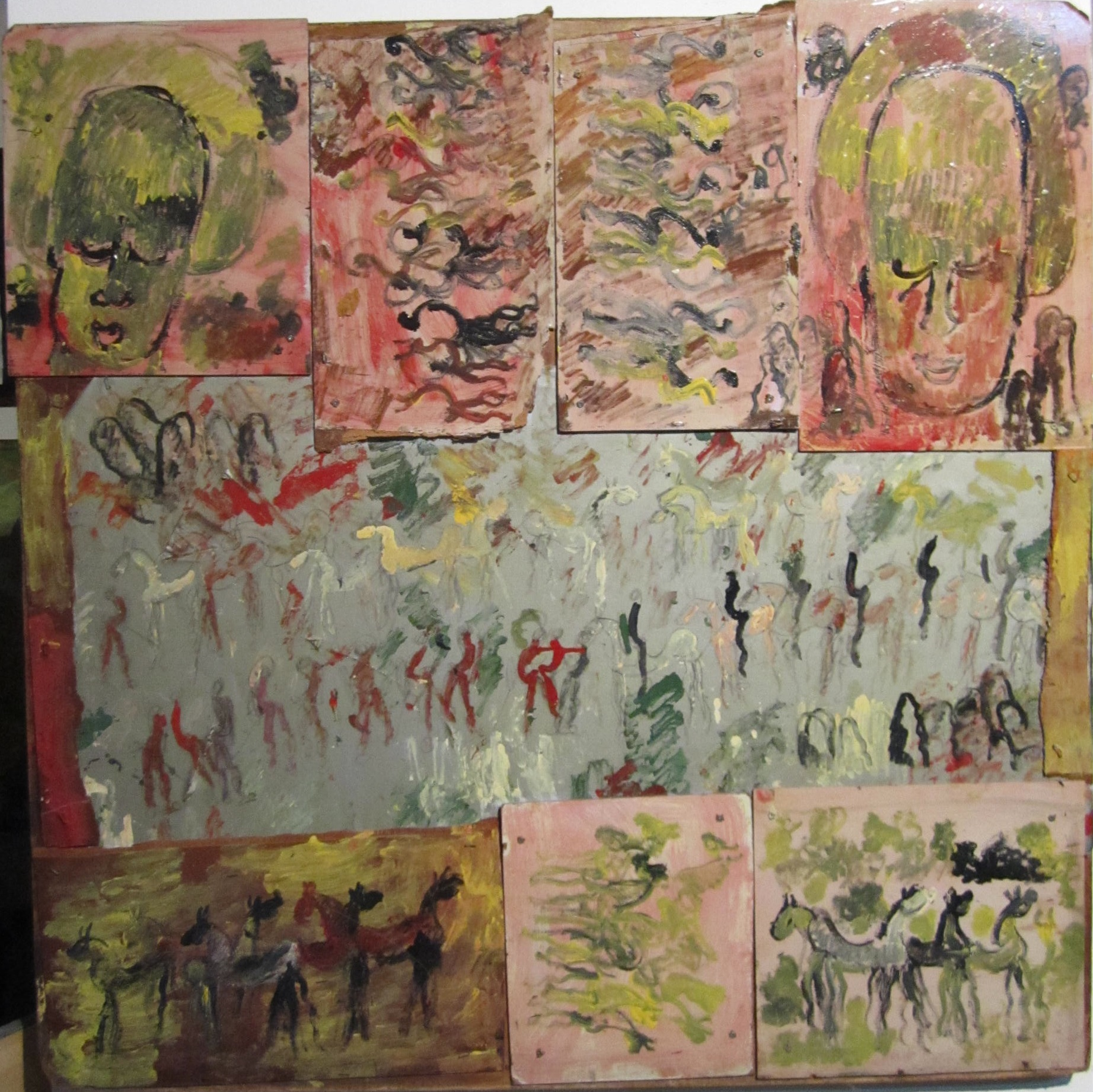 Reproduction of Purvis Young's Painting Art, Collage Mix Media