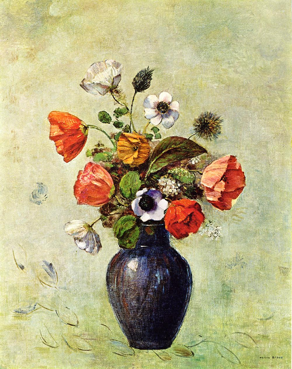 Reproductions of Odilon Redon's art Anemones and Poppies in a Va