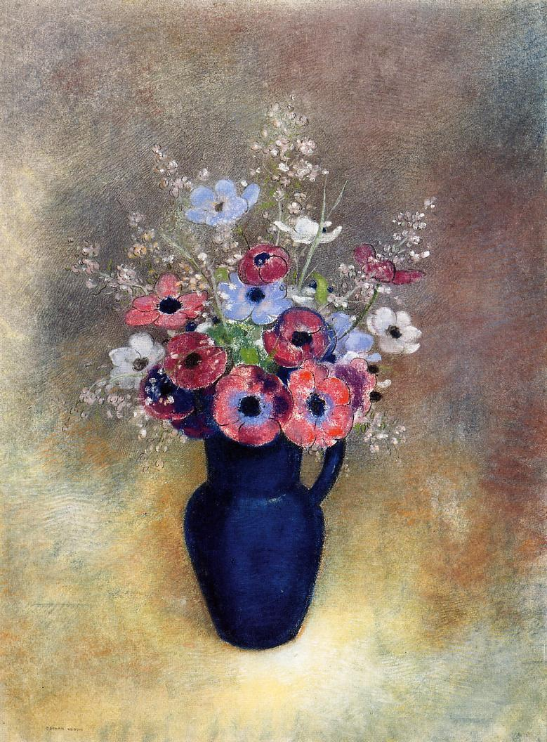 Reproductions of Odilon Redon's art Anemones in a Jug