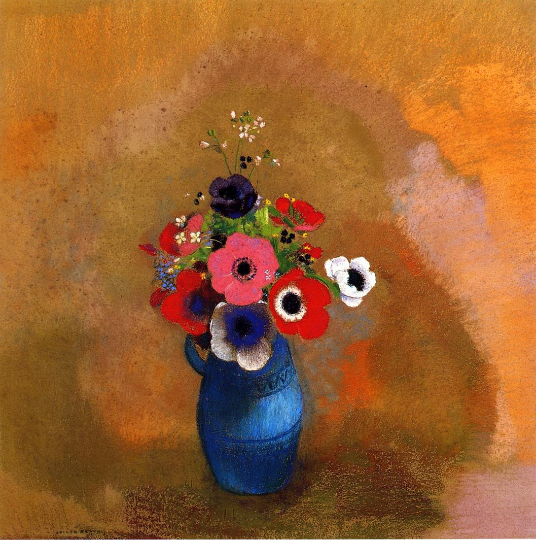 Reproductions of Odilon Redon's art Anemonies in a Blue Vase