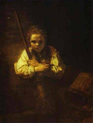Reproduction of A A Girl With A Broom 1651