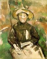 Paul Cezanne paintings artwork, Child with Straw Hat 1896