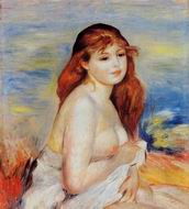 Reproduction of Pierre-Auguste Renoir Bather with Long Hair