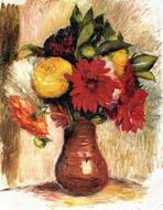 Reproduction of Bouquet of Flowers in an Earthenware Pitcher