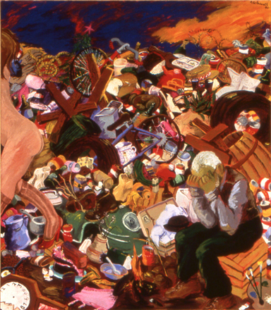 Reproduction of Robert H. Colescott art Down in the Dumps,1983
