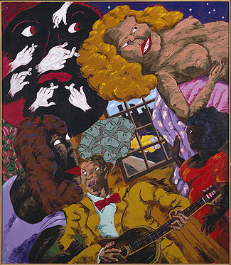 Reproduction of Robert H. Colescott art Heartbreak Hotel (1990)