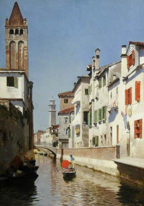 Reproduction Rubens Santoro oil paintnigs A Canal Scene, Venice