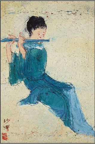 Reproductions of Sadji Sha Qi paintings Girl piper piping