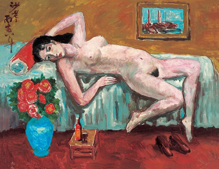 Reproductions of Sadji Sha Qi paintings Nude girl on bed
