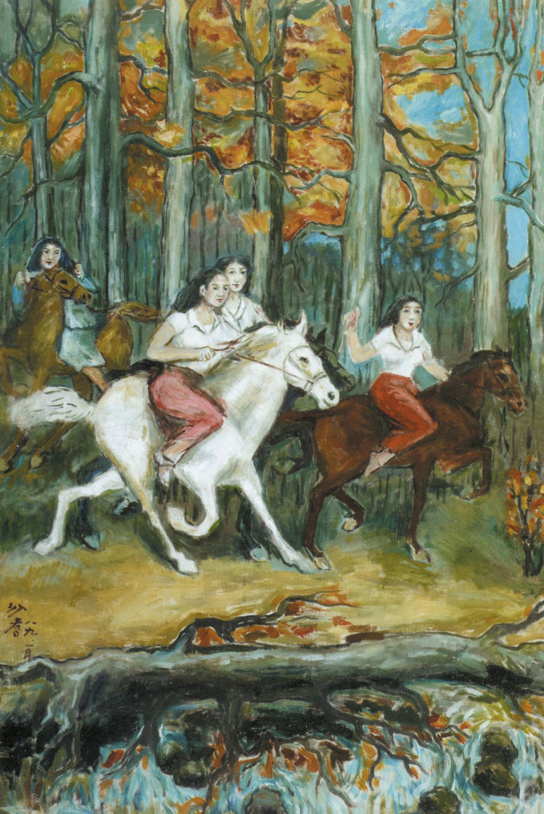 Reproductions of Sadji Sha Qi paintings girls on horse