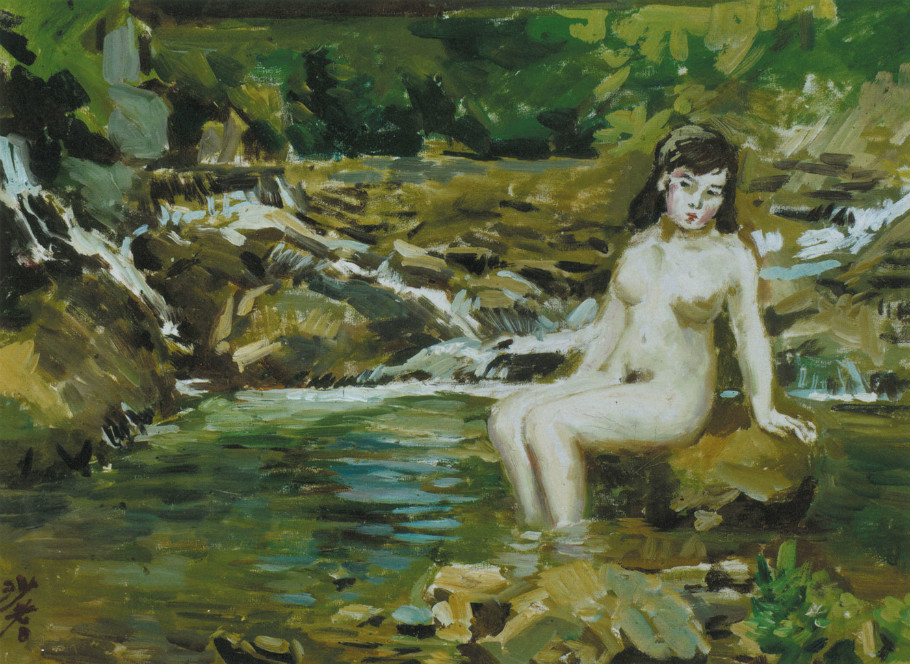 Reproductions of Sadji Sha Qi paintings nude girl on river
