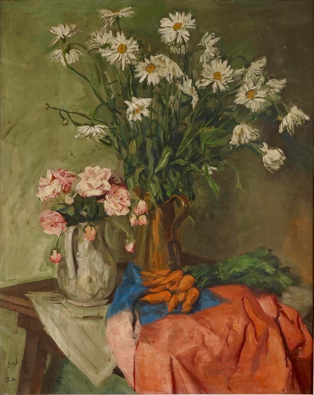 Reproductions of Sadji Sha Qi paintings flowers and carrots