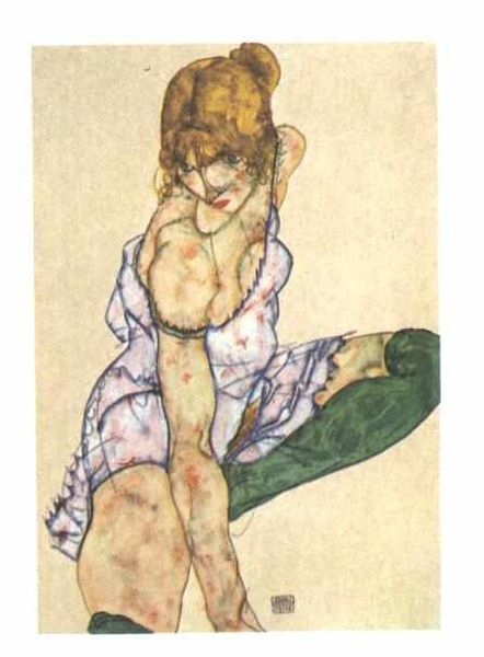 Reproduction Egon Schiele's Blonde girl in green stockings, 1914