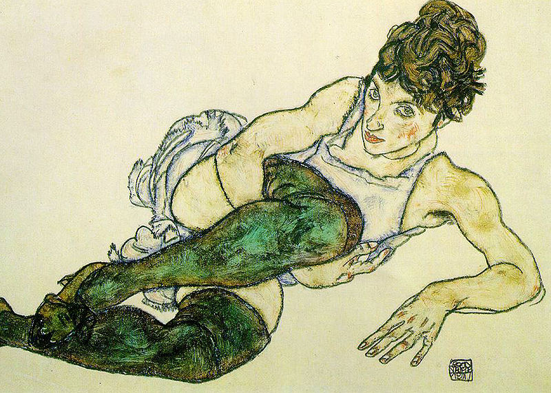 Reproduction Egon Schiele Painting Art Green Stockings,1914