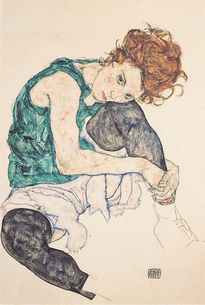 Reproduction Egon Schiele's Seated woman with bent knee, 1917