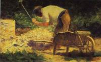 Reproduction of Rock Breaker With A Wheelbarrow 1882