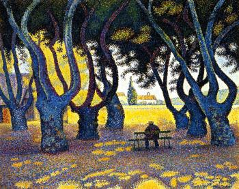 Reproductions of Paul Signac's painting, Plane Trees, Place des