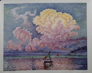 Paul Signac's painting, The Pink Cloud-lighter and pastel
