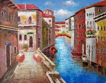 VENICE CANALS ITALY OIL PAINTING, italian landscape oil painting