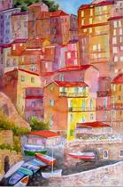Italian landscape oil paintings, Manarola oil painting on canvas