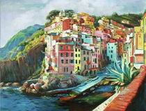 Colours Of Riomaggiore Italy, italian landscape oil paintings