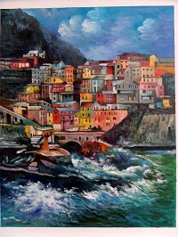 Italian landscape oil paintings, night time in Manarola