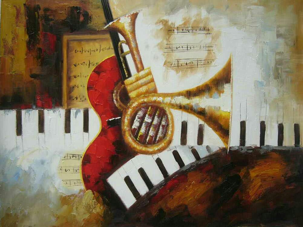 Knife oil painting on canvas musical instrument