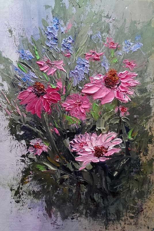 Knife oil painting on canvas flowers