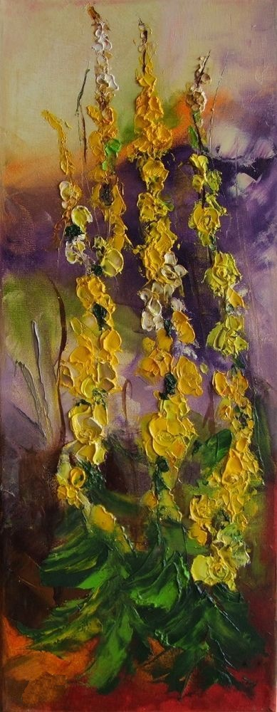 Knife oil painting on canvas mullein flowers