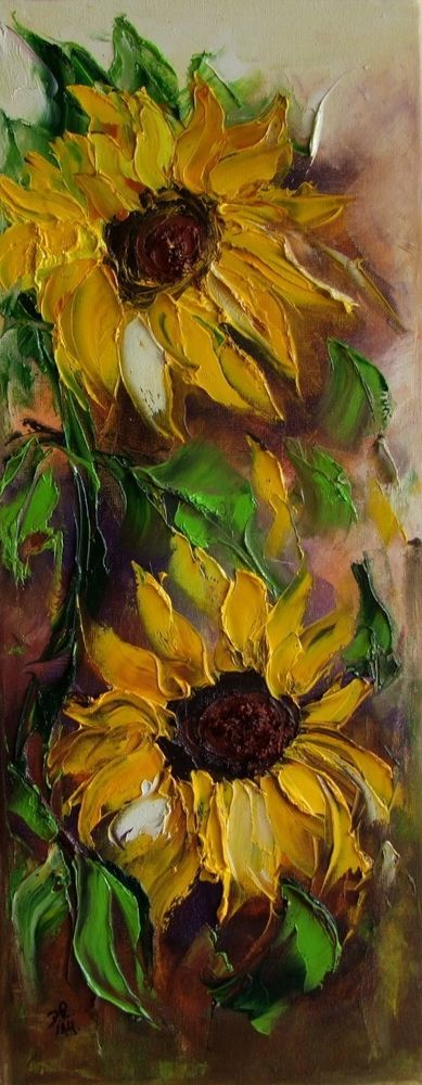 Knife oil painting on canvas sunflowers