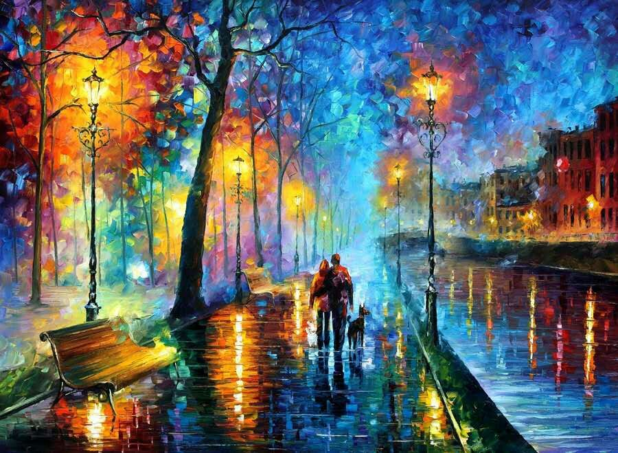 Knife oil painting on canvas The streets at night