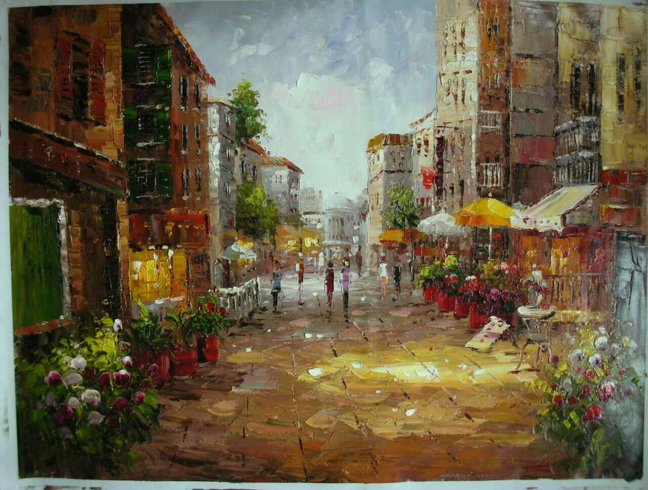 Knife oil painting on canvas The streets