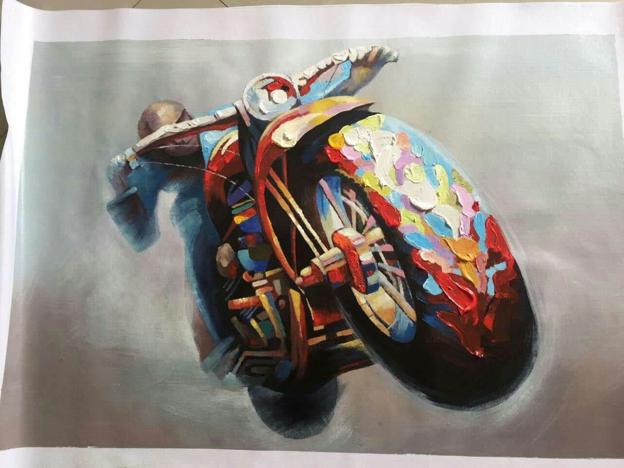 Knife painting on canvas motocross