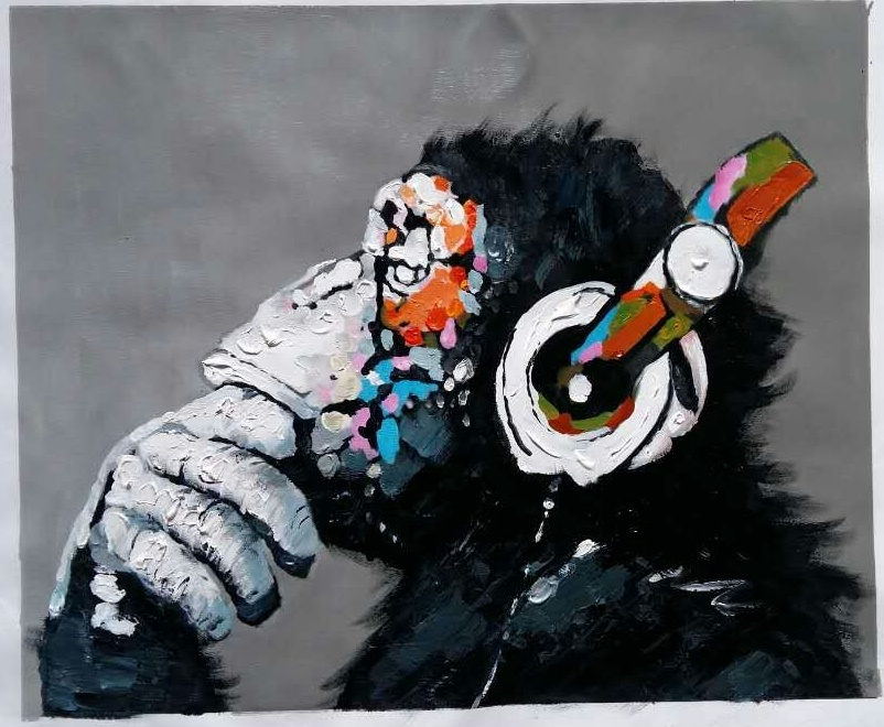 Knife painting on canvas Chimpanzees with headphones