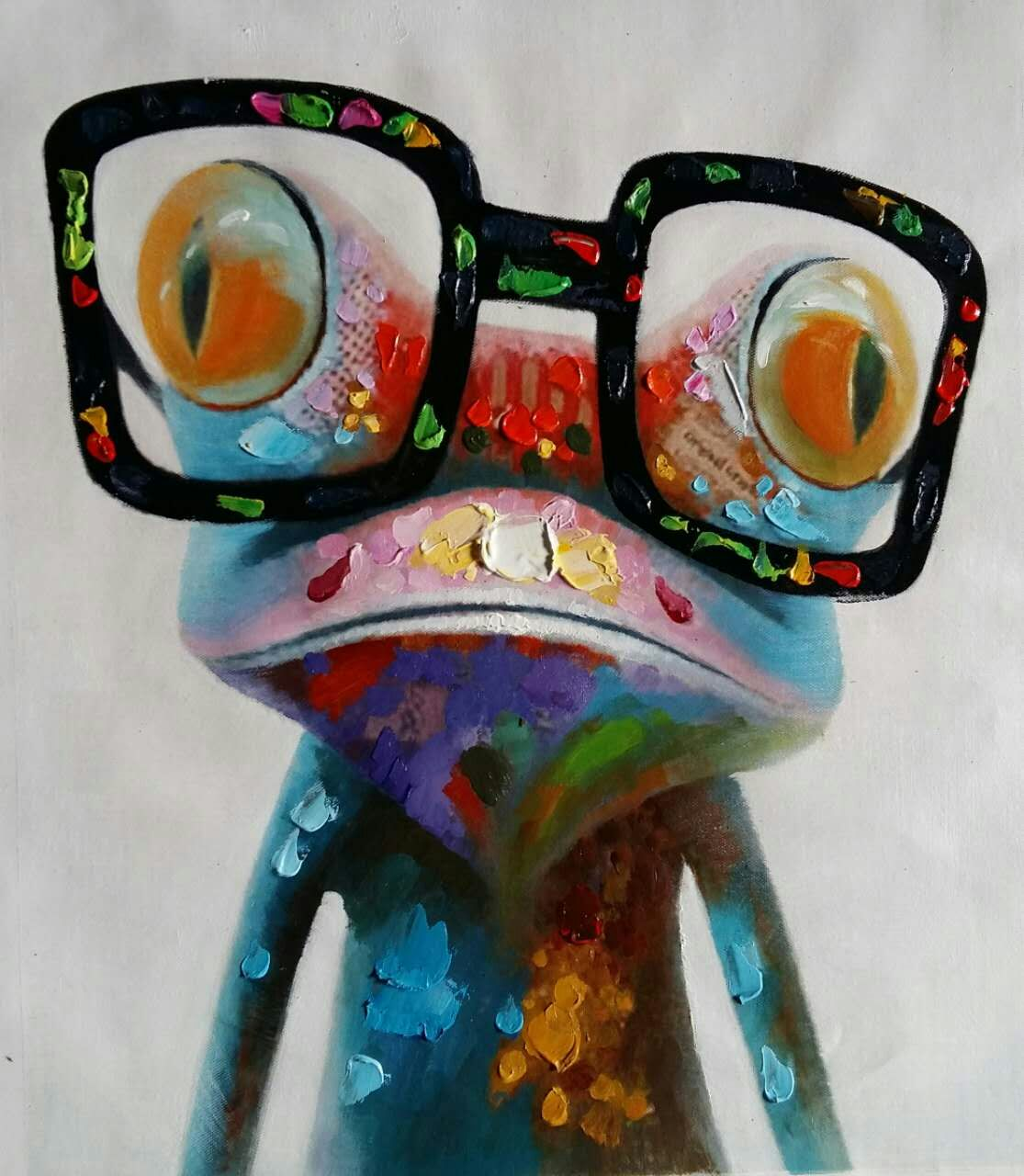 Happy Frog Painted By Hand Canvas Paintings frog with eyeglasses