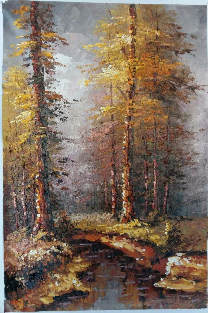Knife painting on canvas Landscape-tree and rivulet