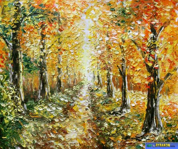 Knife painting Autumn Landscape