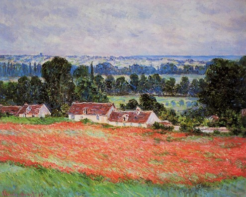 Reproduction of Claude Monet artwork Poppy Field at Giverny 1885 - Click Image to Close