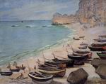 Reproduction of Boats On The Beach At Etretat