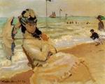 Claude Oscar Monet paintings Camille On The Beach At Trouville