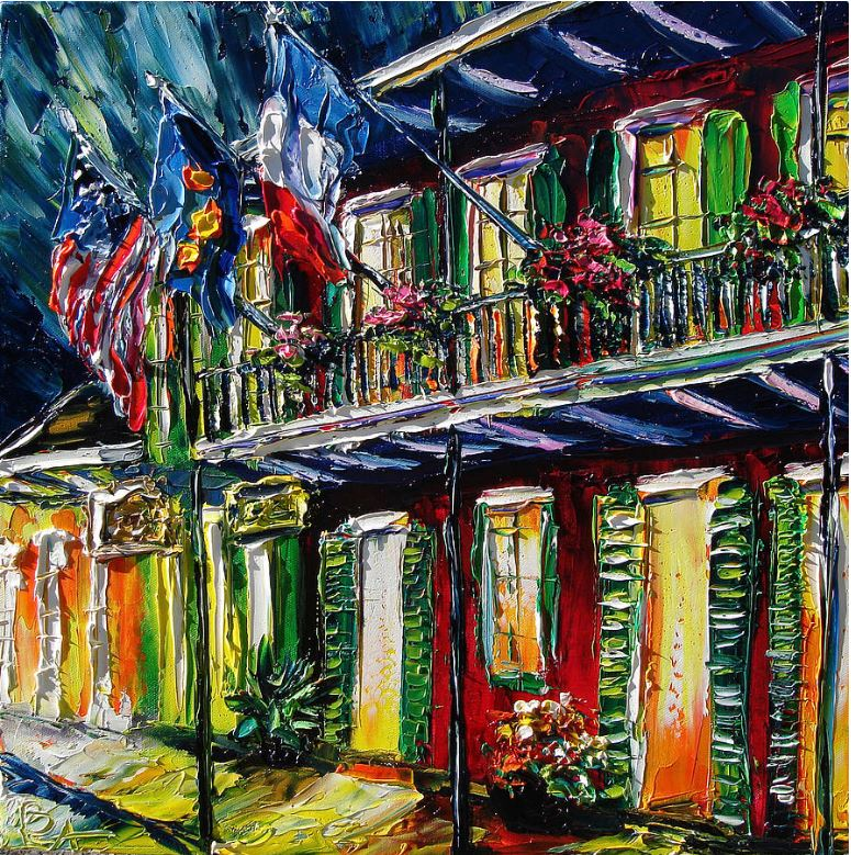 New Orleans oil paintings for sale, at night painting - Flags