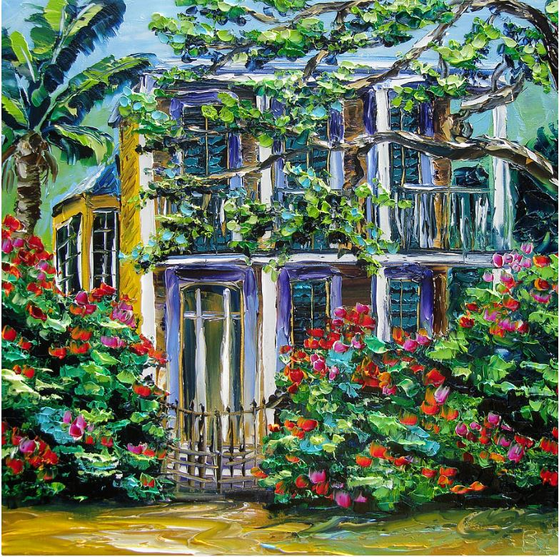 New Orleans oil paintings for sale, Behind the gate B.Sasik