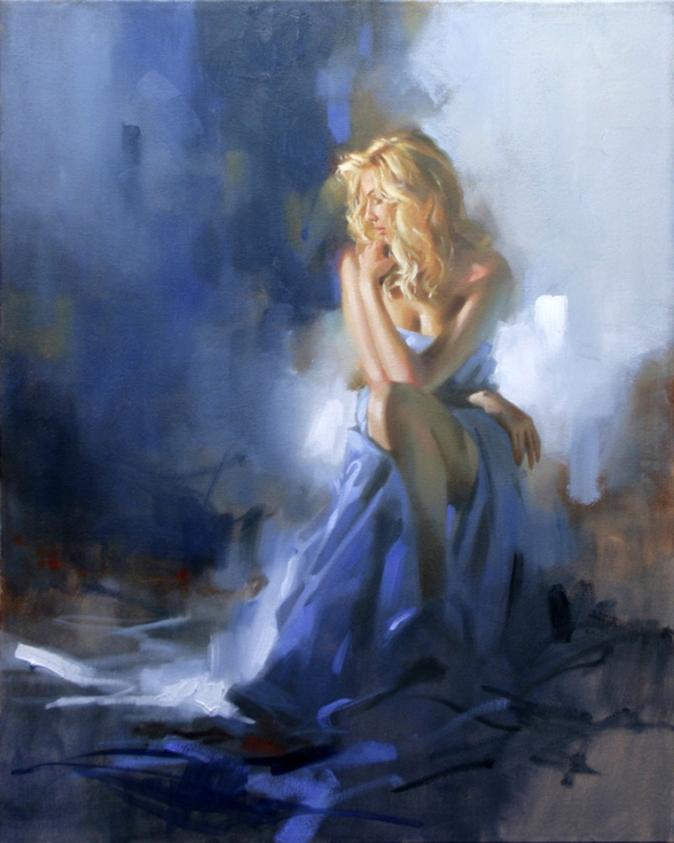 Reproductions Richard johnson paintings Christina in Blue