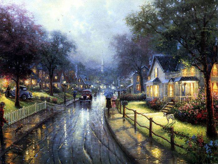 Thomas Kinkade paintings, NO.5 reproduction canvas paintings