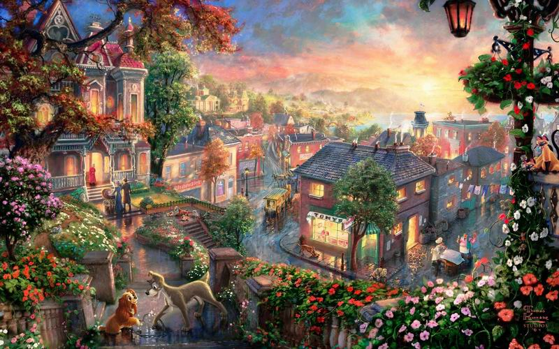 Thomas Kinkade Lady and the Tramp Reproductions of paintings