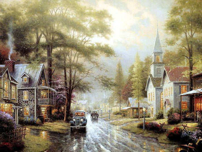 Thomas Kinkade paintings, NO.6 reproduction canvas paintings